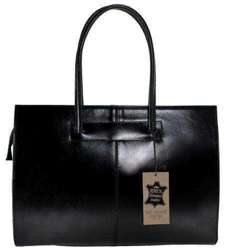 CTM Damen Schultertasche mit Griffen Tür Professionelle Dokumente, 40x30x12cm, 100% echtes Leder Made in Italy