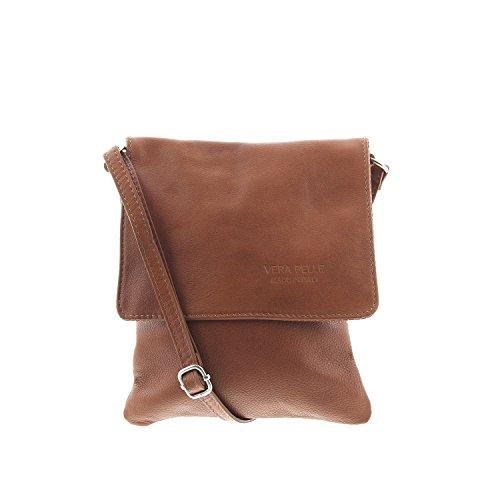 IO.IO.MIO ital. echt Leder Damen Tasche Schultertasche Umhängetasche kleine Handtaschen Crossover Bag Frauen Taschen Citytasche Handtasche klein Farbwahl cognac , 17x20x3 cm (B x H x T)