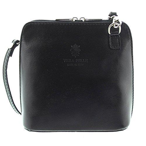 IO.IO.MIO Leder Schultertasche Damen Umhängetasche Handtasche Tasche klein & leicht schwarz