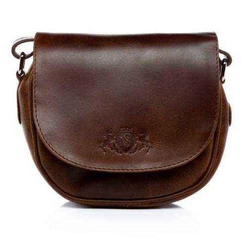 SID & VAIN® Schultertasche BRIGHTON – Damen Umhängetasche klein Ledertasche im Vintage-Look Damentasche echt Leder braun-cognac