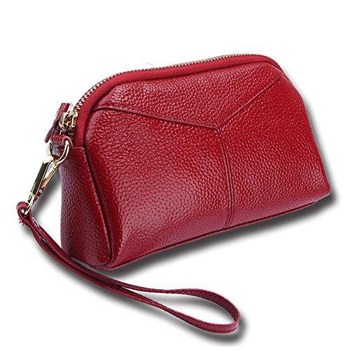 Cheerlife Damen Echt Leder Clutch Tasche Handtasche Abendtasche Handy Geldbeutel Handgelenktaschen mit Reißverschluss (Rot)