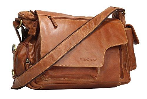 Greenburry Expedition Leder-Handtasche Ledertasche Umhängetasche – Echt Leder-Überschlagtasche – 39x28x13cm