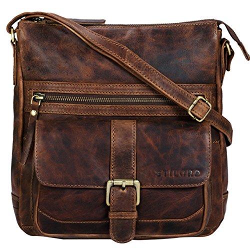 STILORD 'Louise' Vintage Umhängetasche Damen Leder klein Messenger Bag Tablet-Tasche für 9.7 Zoll iPad Schultertasche DIN A5 Handtasche aus echtem Rindsleder, Farbe:mocca – dunkelbraun