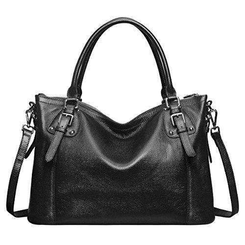 S-ZONE Damen Vintage Stil Soft echtes Leder elegant große Schultertasche (A-Schwarz)