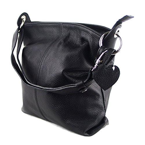 77b7c08e2d0de Ital Echt Leder Damentasche Handtasche Shopper Schultertasche (schwarz)