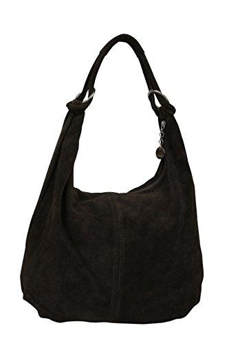 AMBRA Moda Damen Wildleder Schultertasch Damen Handtasche Hobo-Bags Shopper Beuteltaschen Veloursleder Suede Ledertasche DIN-A4 42cm x 35cmx 4cm WL803, Schwarz, XXL