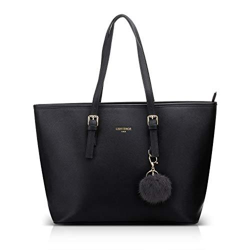 LI&HI Damen Handtasche Shopper Handtasche Schwarz Elegant Schwarze Groß Damen Tasche für Büro Schule Einkauf mit Kaninchen Pelz Kugel Plüsch Schlüsselring (Verbesserte Version) – 34/29/15.5 CM
