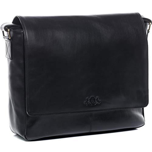 SID & VAIN Laptoptasche Messenger Bag echt Leder Spencer XL groß Businesstasche 15,6 Zoll Laptop Umhängetasche Laptopfach Herren schwarz