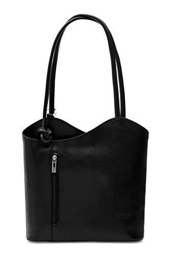 LiaTalia Damen großartige weiche italienische Leder Piping Detail Schulter oder Rucksack Tasche mit Schutztasche – Libby z** (Nicht Piping) – Schwarz
