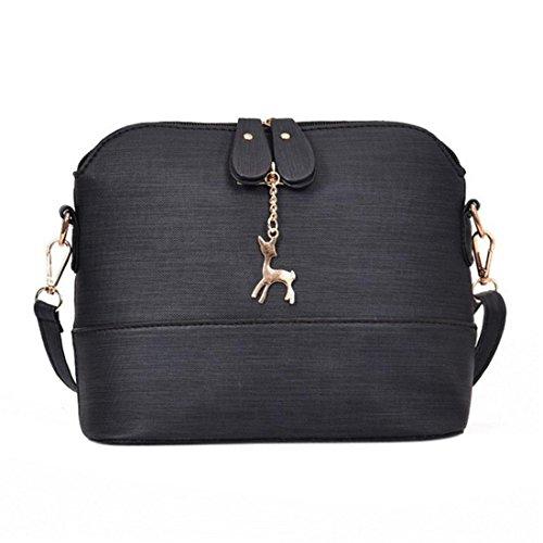 Handtasche Damen Btruely Mädchen Messenger Crossbody Vintage Tasche Damen Kleines Shell Leder Handtasche (Schwarz)