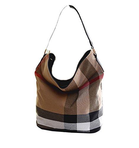 wewo Modisch Canvas Damen Schultertasche kariert Handtasche mädchen umhängetasche Vintage henkeltaschen lässig damentaschen Shopper Bucket Bag (schwarz)