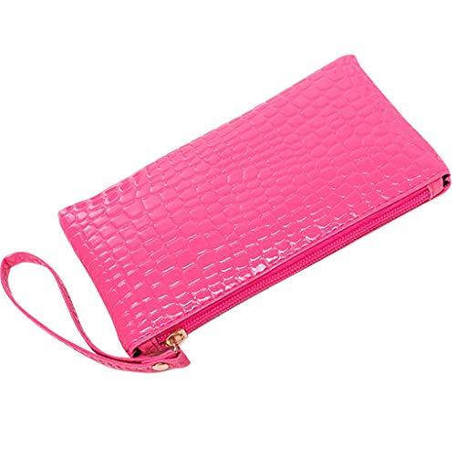 MEIbax Dame Krokodil Leder Clutch Handtasche Tasche Geldbörse Frauen Clutch Glitzer Elegant Abendtasche Handtasche (Hot Pink)