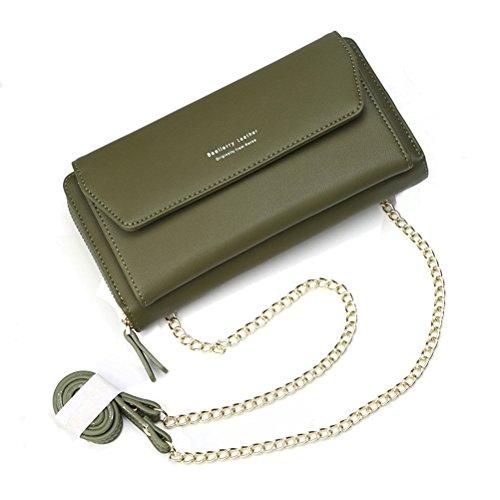 Geldbörse Damen Leder Brieftasche mit eingearbeiteter Kette, Lang Portmonee Clutch Handy Geldbeutel Reißverschluss, Multifunktion Portemonnaie Schutz Hülle für Samsung iPhone Huawei Telefon (Grün)