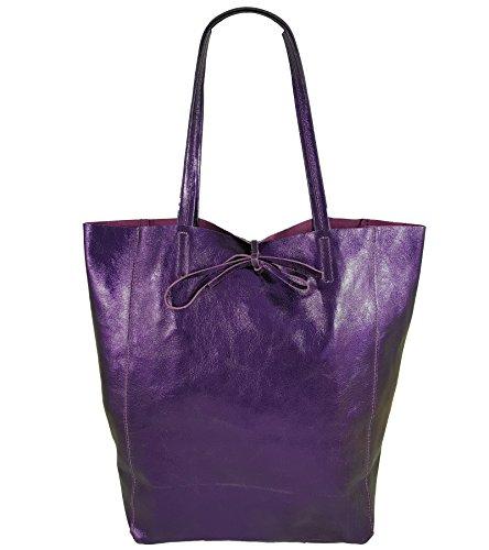 Freyday Damen Echtleder Shopper mit Innentasche in vielen Farben Schultertasche Henkeltasche Metallic look (Violett Metallic)