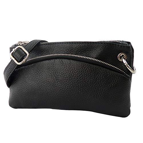SH Leder Echtleder Umhängetasche Clutch kleine Tasche Abendtasche 24,50x14cm G1619 (Schwarz)