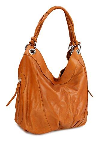 Belli ital. Nappa Leder Shopper Handtasche Damentasche Ledertasche cognac – 35×31(mittig) x17 cm (B x H x T)