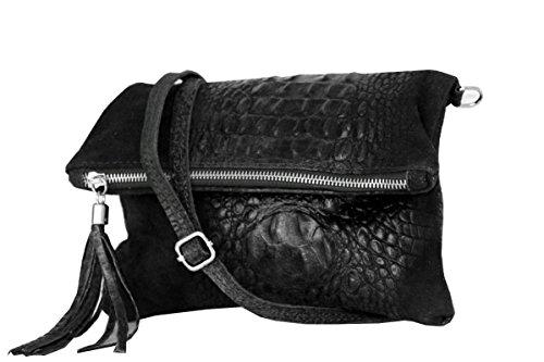 zarolo Damen Umhängetasche,Tasche klein, Schultertasche, Cross Body, Leder Clutch echtes Leder, Handtasche Italienische Handarbeit M20591