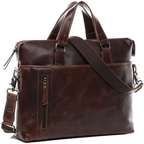 BACCINI Laptoptasche echt Leder Leandro groß Businesstasche 15,6 Zoll Laptop Umhängetasche Aktentasche Laptopfach Ledertasche Herren braun