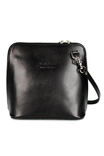 Belli ital. Ledertasche Damen Umhängetasche Handtasche Schultertasche – 17×16,5×8,5 cm (B x H x T) (Black)