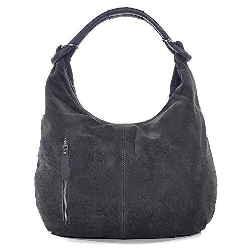 CNTMP Damen Wildleder Handtasche Damen Handtasche Hobo-Bags Shopper Beuteltaschen Veloursleder Suede Ledertasche DIN-A4, 44x36x4cm (B x H x T), Farbe:Grau (Anthrazit)