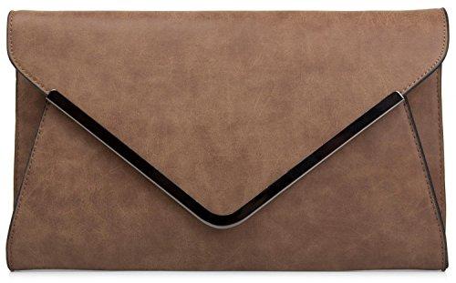 styleBREAKER Envelope Clutch, Abendtasche im Kuvert Design mit Schulterriehmen und Trageschlaufe, Damen 02012047, Farbe:Camel