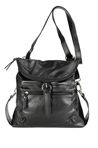 Belli ital. Echt Leder Rucksack Backpack London Handtasche Umhängetasche Rucksacktasche schwarz – 28x26x10 cm (B x H x T)