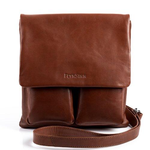 FEYNSINN Umhängetasche echt Leder NIA Schultertasche Handtasche mit Schultergurt Ledertasche Unisex braun