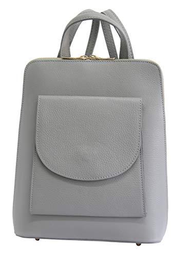 AMBRA Moda echt Leder 2 in 1 Damenrucksack DayPack Schultertasche Umhängetasche Henkeltasche GL020 (Grau)