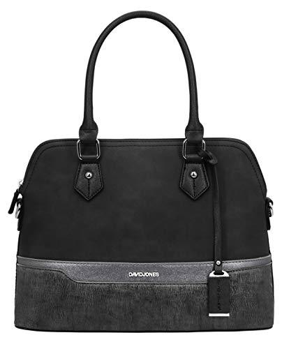 David Jones – Damen Handtasche – Bugatti Tasche – Nubuk Paillette Saffiano Leder – Multicolor Frau Tasche – Henkeltasche – Schultertasche – Stilvoll Elegant Bowling City Bag – Schwarz