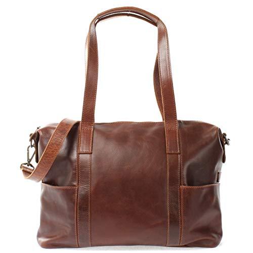 LECONI Shopper Vintage-Look Damen Henkeltasche Schultertasche Echt-Leder Natur Damentasche Ledertasche Umhängetasche Handtasche Leder 37x28x15cm braun LE0061-buf