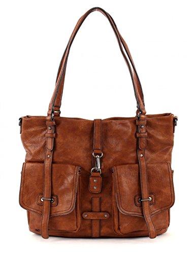Tamaris Damen BERNADETTE Shopper, Braun Cognac 305), 36x30x12 cm