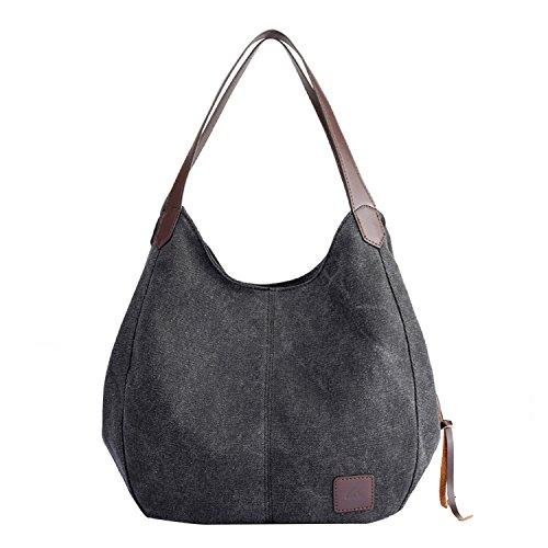 PB-SOAR Damen Mädchen Modern Canvas Shopper Schultertasche Handtasche Henkeltasche Hobo Bag Beuteltasche (Schwarz)