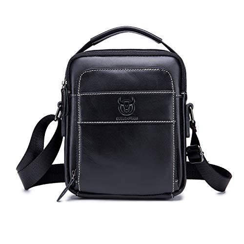 UBaymax Leder Schultertaschen Herren, Kleine echt Leder Umhängetasche Handtasche Ledertasche, Vintage Business Messenger Bag, Schwarz