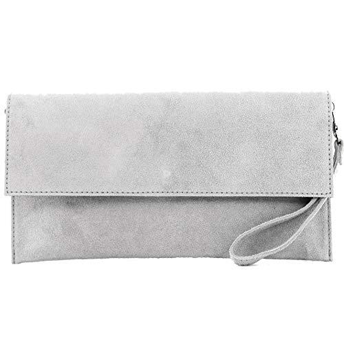modamoda de – T151/M151 – ital. Clutch Wildleder/Leder Metallic, Farbe:Grau
