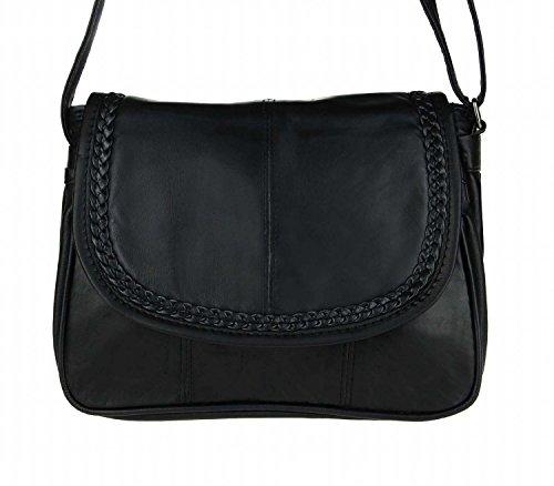 Kleine Lambskin Damen Leder Tasche Handtasche Überschlag Umhängetasche Schultertasche Clutch Damentasche Ledertaschen (Schwarz 6627 (22×19 cm))
