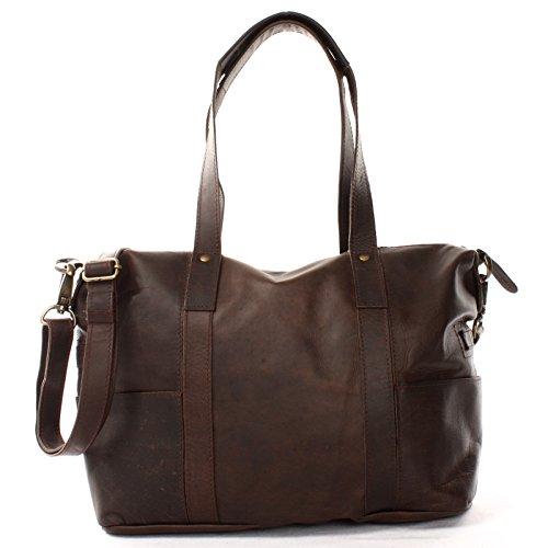 LECONI Shopper Vintage-Look Damen Henkeltasche Schultertasche Echt-Leder Natur Damentasche Ledertasche Umhängetasche Handtasche Leder 37x28x15cm dunkelbraun LE0034-wax