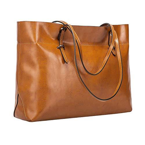 S-ZONE Damen Vintage Echtleder Tote Beutel Schultertasche Handtasche