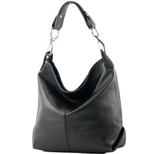 modamoda de – T168 – ital Schulter-/Umhängetasche aus Leder, Farbe:Schwarz