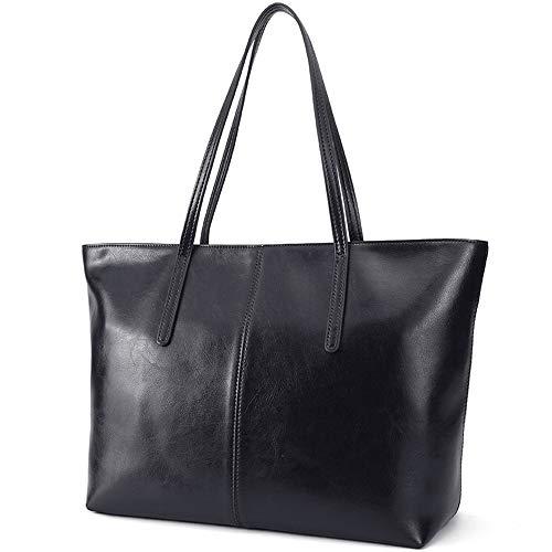 Ritzo by M ~ Ledertasche Damen groß Tasche Damen Shopper aus echtem Vintage Leder in Schwarz Cognac Braun und Blau (Schwarz)