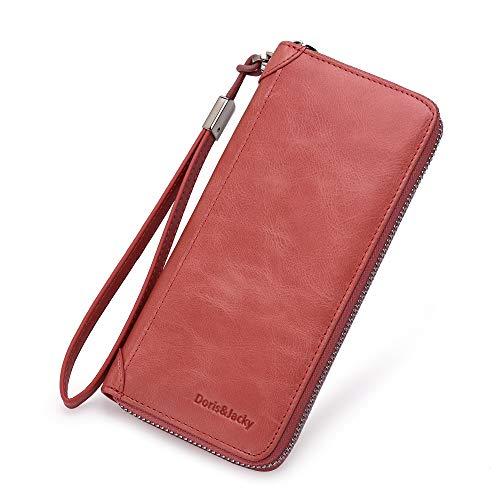 Damen Echt Leder Geldbörse RFID Schutz Langes Portemonnaie Geldbeutel Clutch Wallet viele Fächer mit Reißverschluss Handschlaufe (Koralle)