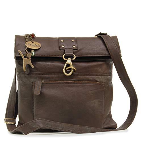 Catwalk Collection Handbags – Damen Leder Umhängetasche/Handtasche/Messenger – DISPATCH – Braun