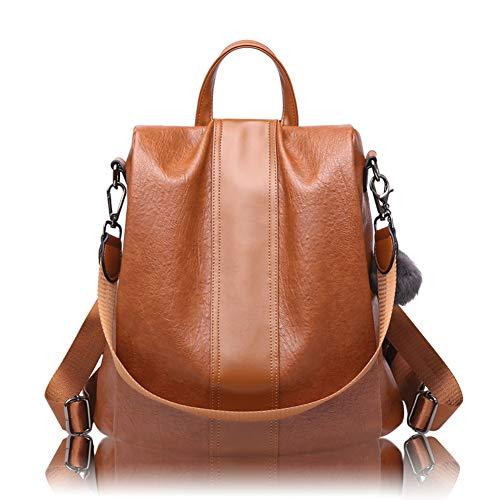 Maysurban Rucksack Damen Leder Umhängetasche 2 in 1 Anti Diebstahl Daypack Schulrucksack Multifunktionale Tasche Braun