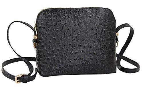 AMBRA Moda Damen Handtasche Umhängetasche Leder Tasche klein SL702 (Schwarz)