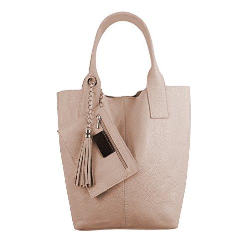 Freyday Damen Echtleder Shopper mit Schmucktasche in vielen Farben Schultertasche Henkeltasche Handtasche Metallic look (Rosa)