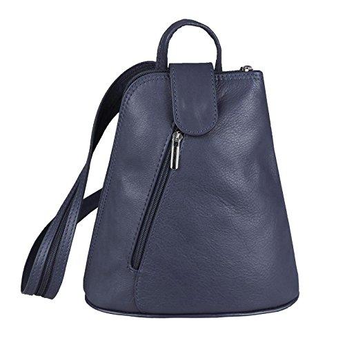 OBC Damen echt Leder Rucksack Schultertasche Stadtrucksack Backpack Handtasche Organizer Daypack Tablet bis ca. 8 Zoll Leder 22x23x12 Blau-Navy