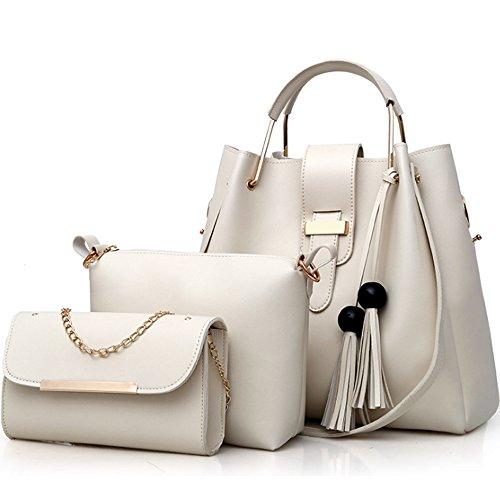 FiveloveTwo Damen 3Pcs PU Leder Tasche Set Handtasche + Schultertasche + Umhängetasche Henkeltaschen Rucksackhandtaschen Shopper Clutches Handbag Set Tote Tragetaschen Beige