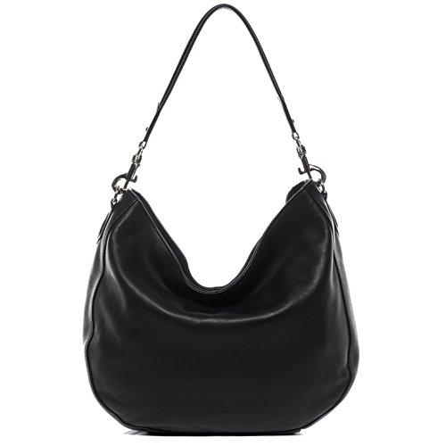 BACCINI Beuteltasche echt Leder NELA Hobo Bag Schultertasche Ledertasche Damen schwarz
