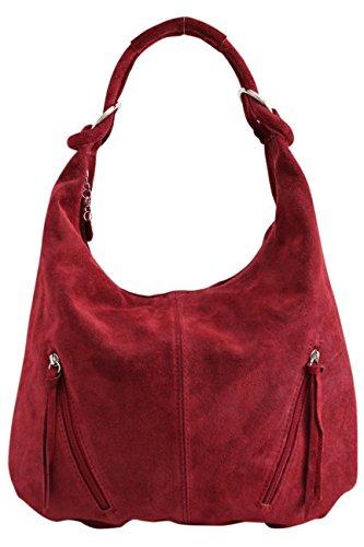 AMBRA Moda Damen Ledertasche Shopper Wildleder Handtasche Schultertasche Beuteltasche Hobo Tasche Groß WL822 (Bordeauxrot)