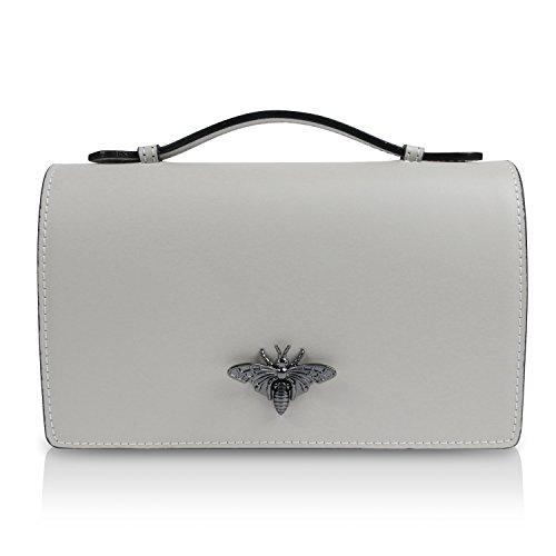 Glamexx24 Damen Clutch echt Leder Tasche Abendtasche mit Kette Handtasche Umhängetasche Made in Italy (1.014.9 H.Grau)