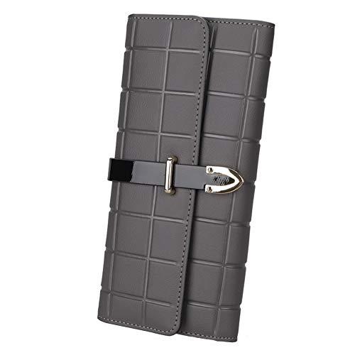 BINFEIDI Frauen RFID Blockierung Großraum Trifold Echtem Leder Clutch Geldbörse Damen Geldbörse (Grau)